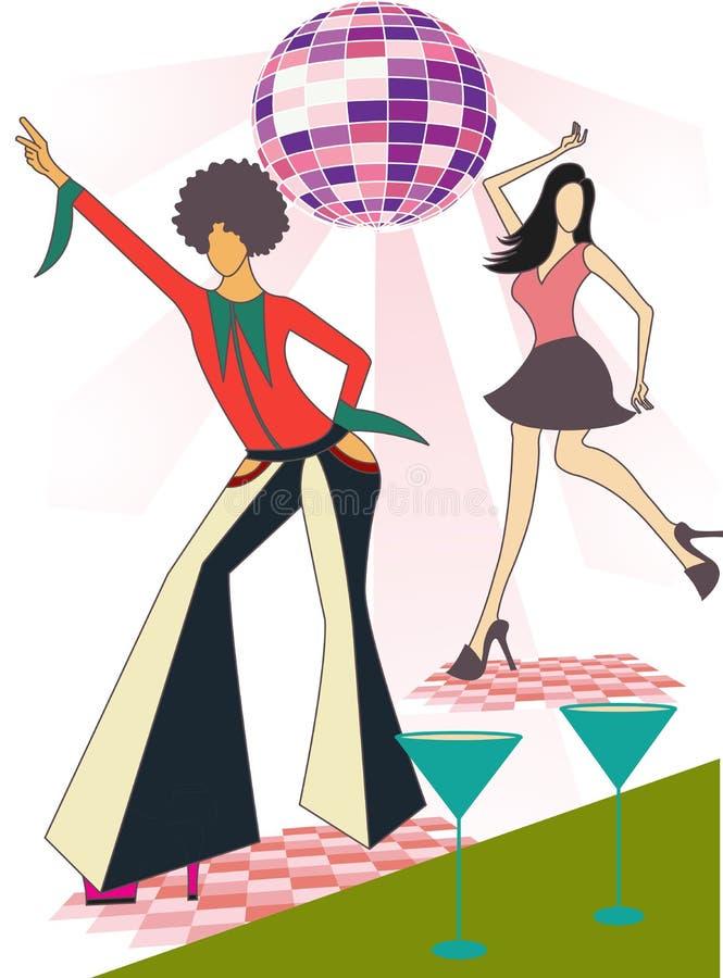 Illustration av två diskodansare royaltyfri illustrationer