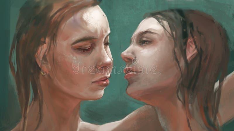 Illustration av två tvilling- systrar vektor illustrationer