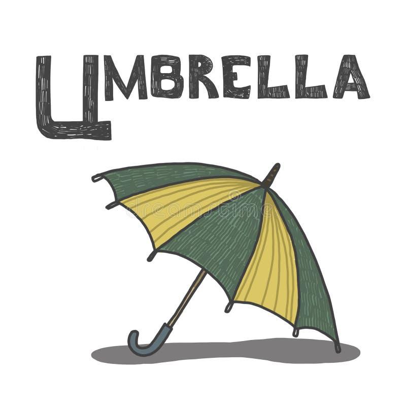 Illustration av u för paraply paraply alfabet vektor illustrationer
