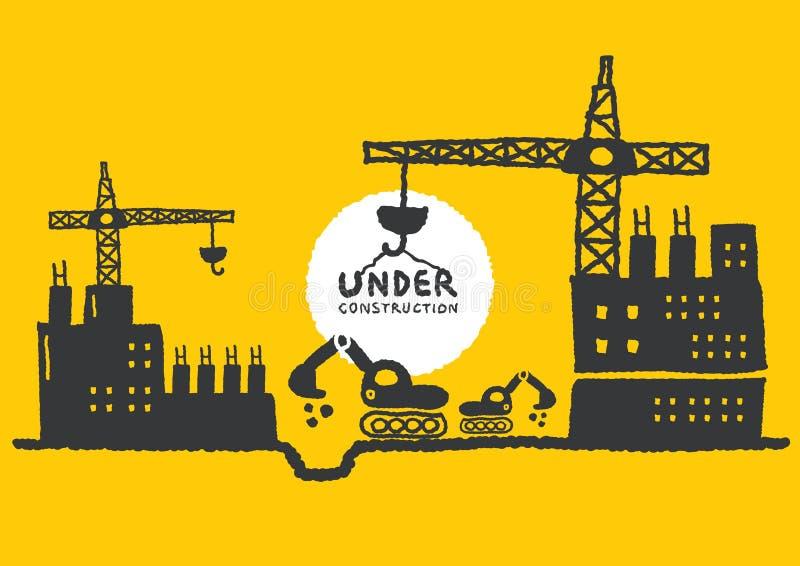Illustration av under-konstruktionsplatsen med byggnad royaltyfri illustrationer