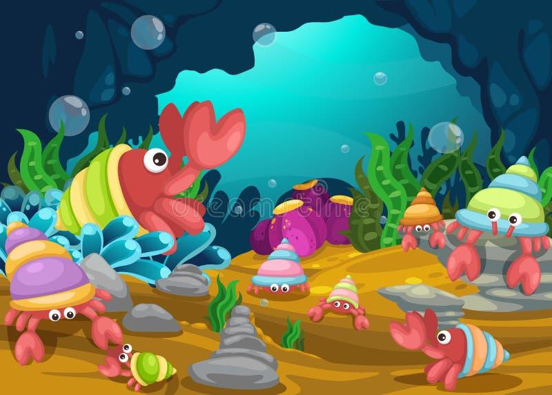 Illustration av undervattens- bakgrund för hav royaltyfri illustrationer
