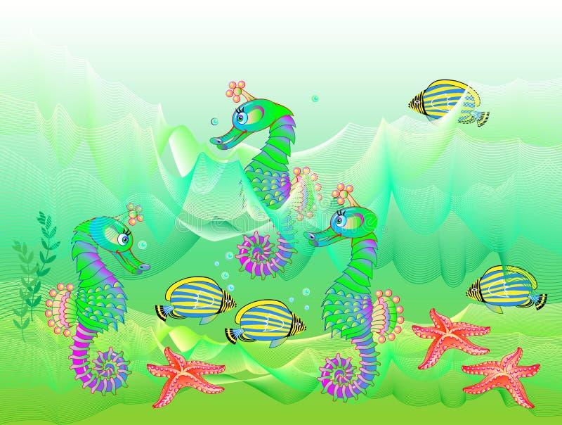 Illustration av undervattens- liv med härliga fiskar och seahorses Fantastisk bakgrund med den maritima miljön för ungar bokar stock illustrationer
