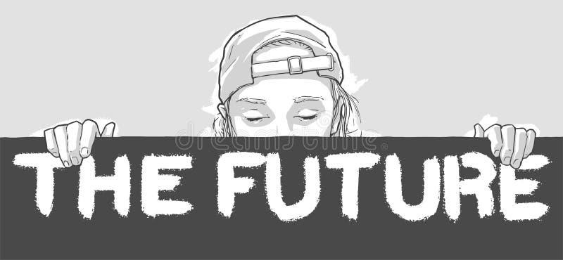 Illustration av unga flickan som rymmer det framtida teckenbanret i färg vektor illustrationer