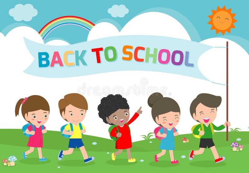 Illustration av ungar som går att skola, tillbaka till skolamallen med barn, grupp av elever som går det isolerade skolbarnet royaltyfri illustrationer