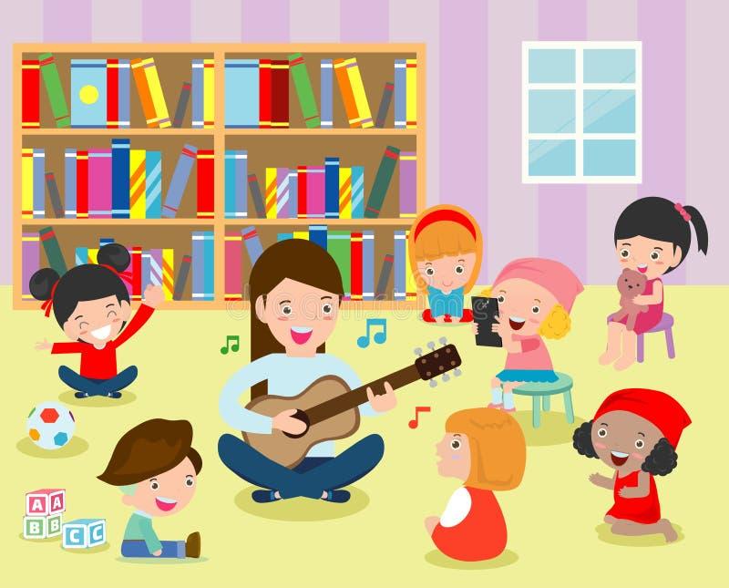 Illustration av ungar som lyssnar till deras lärare Play gitarren i klassrumet Plan design stock illustrationer