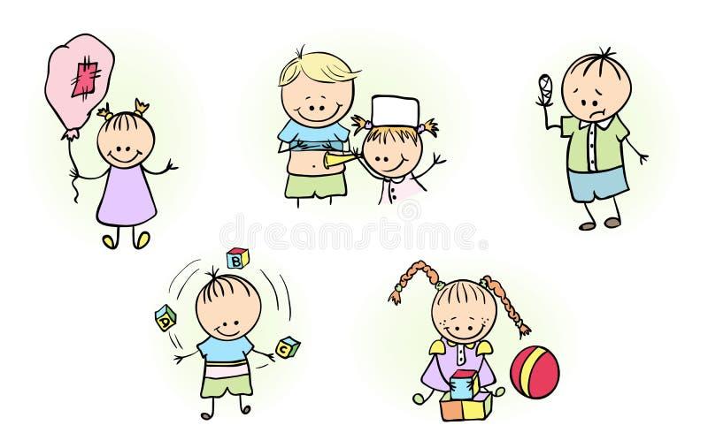 Illustration av ungar som spelar med bollballongen stock illustrationer