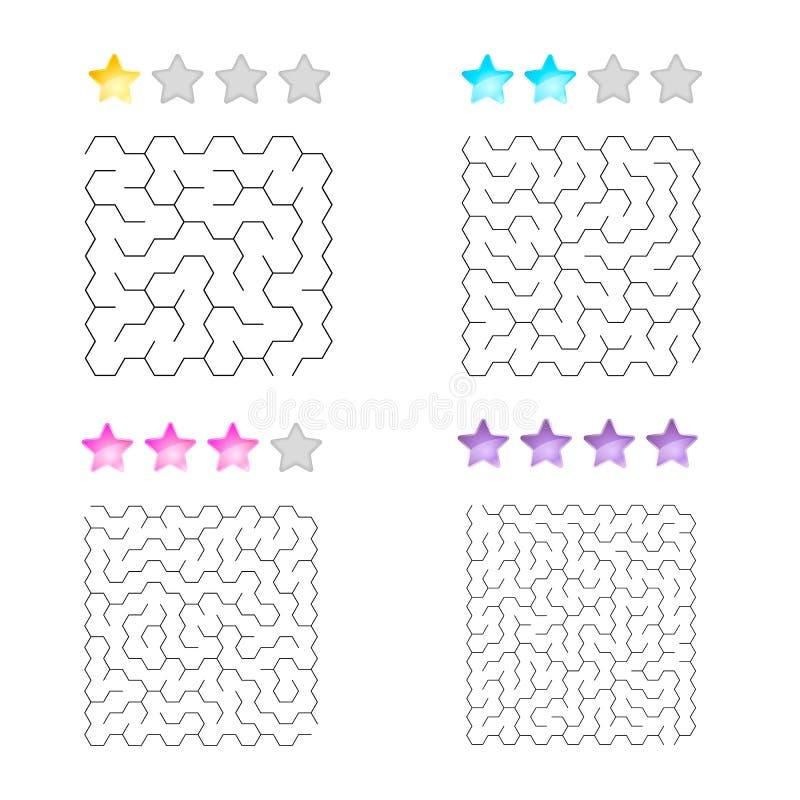 Illustration av uppsättningen av 4 labyrinter av sexhörningar för ungar på olika nivåer av komplexitet royaltyfri illustrationer