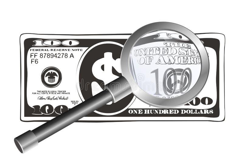 Illustration av USA valuta med loupen i tecknad filmstil royaltyfri illustrationer