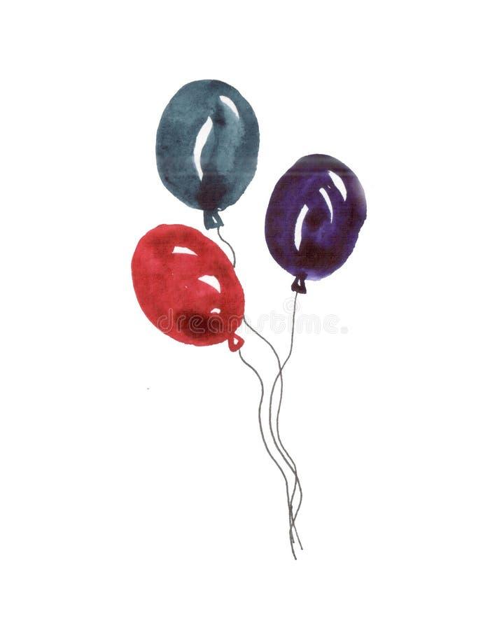 Illustration av vattenf?rgballonger royaltyfri illustrationer