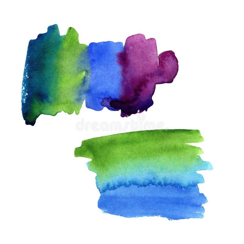 Illustration av vattenfärgfläcksudd från gröna blått till lilor placera text för design kort, ramar stock illustrationer