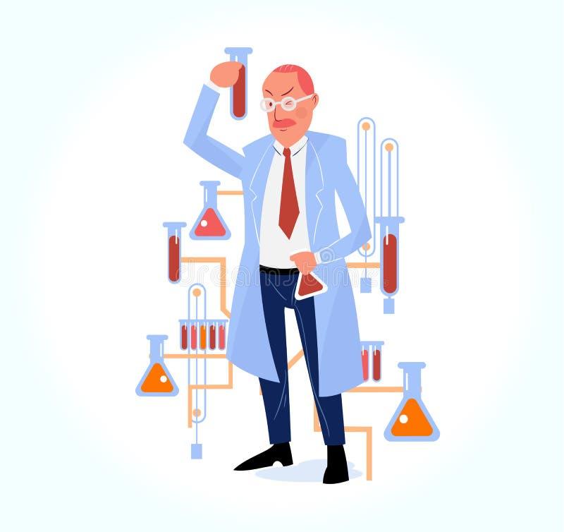 Illustration av vetenskaplig forskning med forskaren i kemikalie l royaltyfri illustrationer