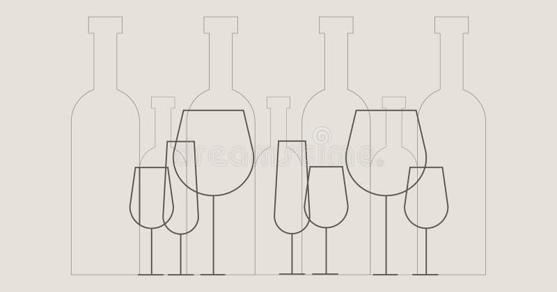 Illustration av vinflaskor och vinexponeringsglas i översiktsstil arkivfoton