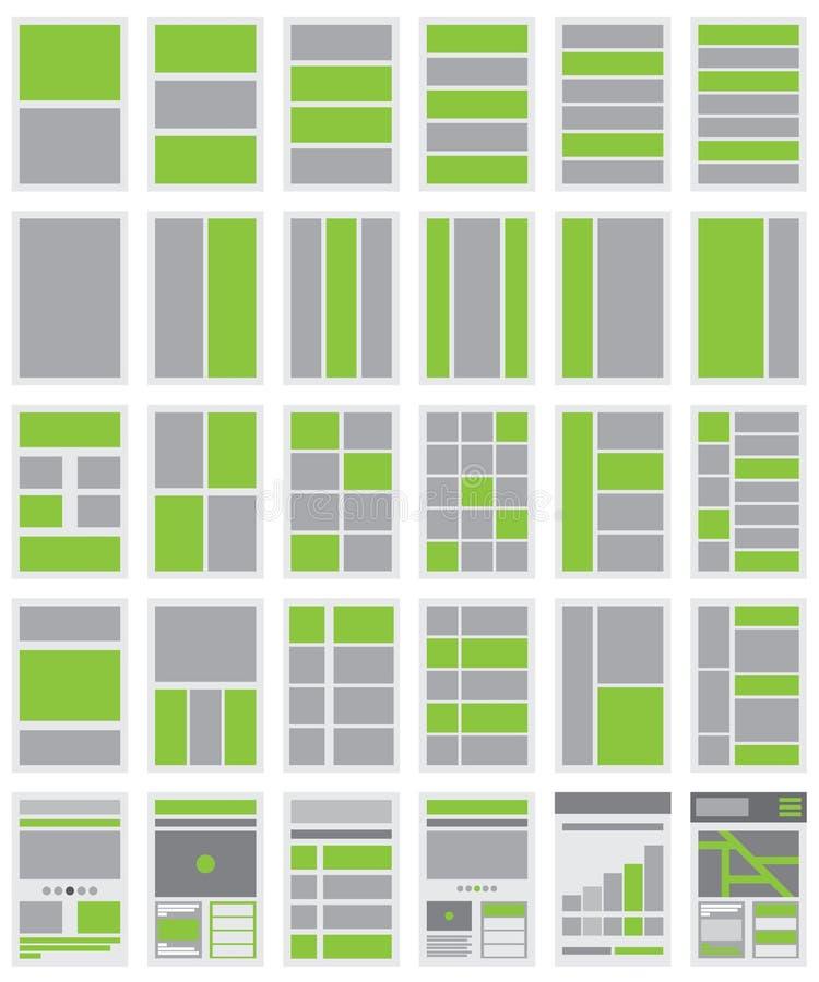 Illustration av Websiteflödesdiagram och platsöversikter vektor illustrationer