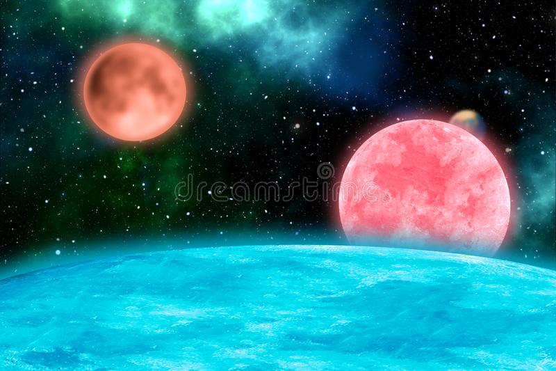 Illustration av yttre rymd med olika planeter arkivbilder