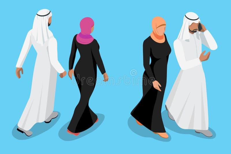 Illustration avant et arrière de couples arabes isométriques de vue de vecteur illustration libre de droits
