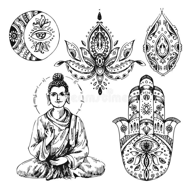 Illustration avec Bouddha illustration libre de droits