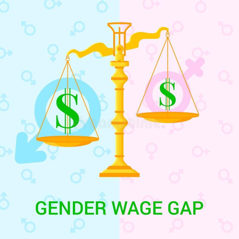 Illustration avec des échelles, des icônes du dollar et le fond avec les signes masculins et femelles illustration libre de droits