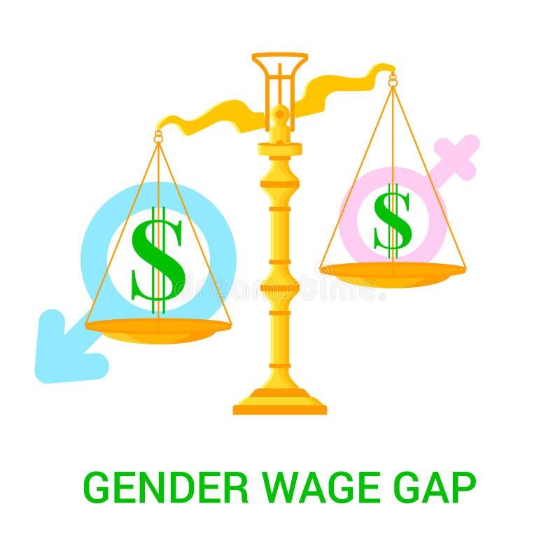 Illustration avec des échelles, des icônes du dollar et mâle et des signes femelles illustration libre de droits