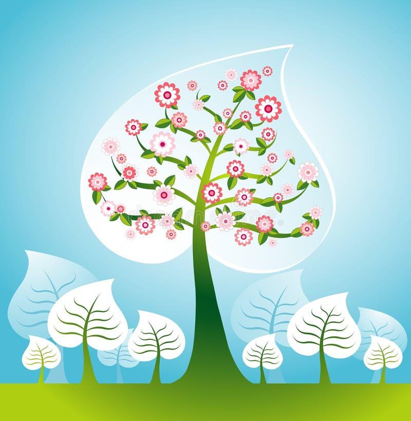 Illustration avec des arbres, vecteur