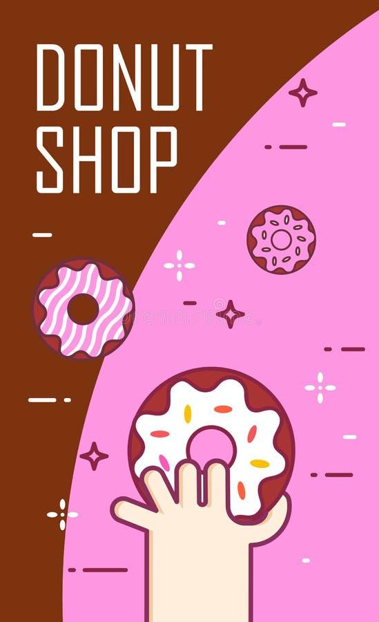 Illustration avec des butées toriques de main et de couleur Bannière de vecteur pour les aliments de préparation rapide Ligne min illustration libre de droits