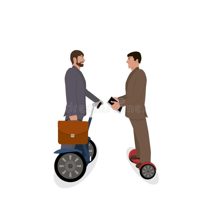 Illustration avec des hommes d'affaires Directeur ou homme d'affaires sur le segway illustration libre de droits