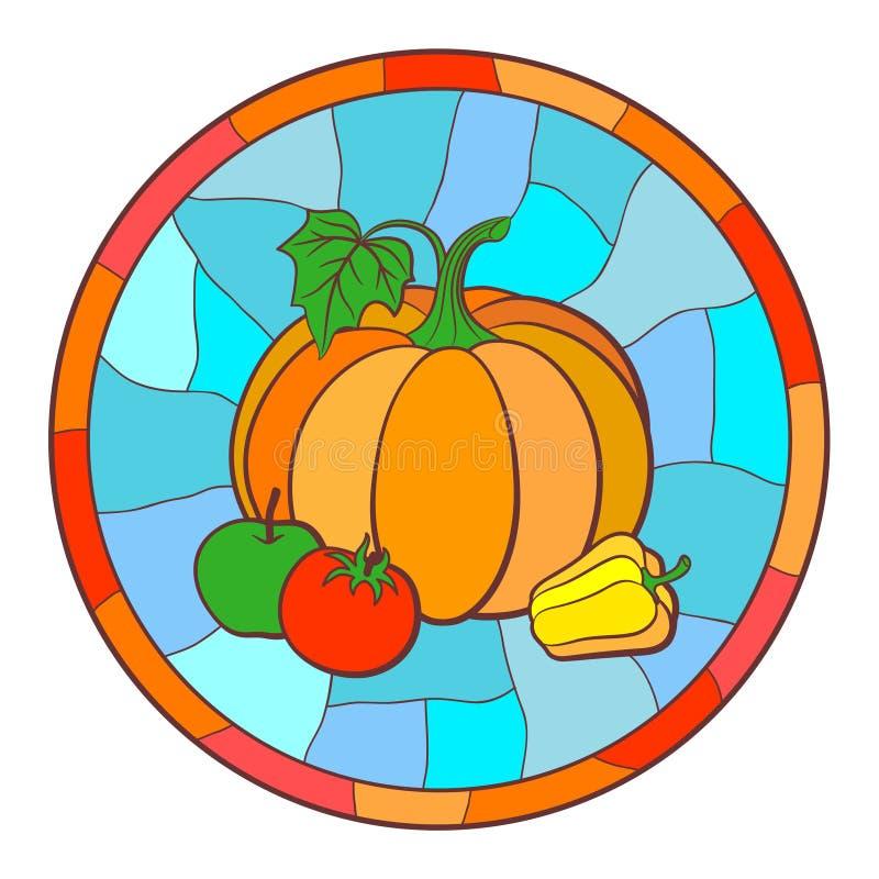 Illustration avec des légumes dans le style en verre souillé illustration libre de droits