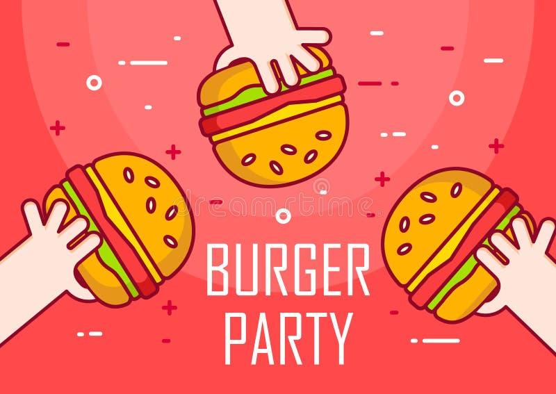 Illustration avec des mains et des hamburgers sur le fond rouge Jour de partie Ligne mince bannière plate de conception illustration de vecteur