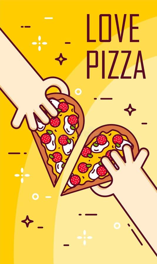 Illustration avec des mains et la moitié de la pizza Bannière de vecteur pour les aliments de préparation rapide Ligne mince conc illustration stock