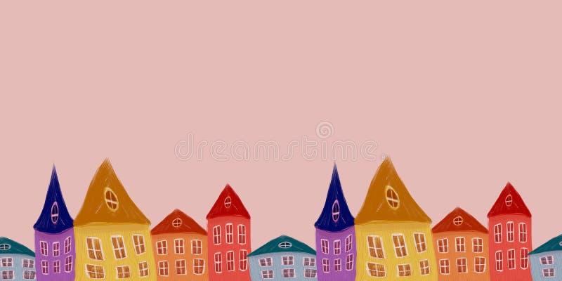 Illustration avec des maisons illustration libre de droits