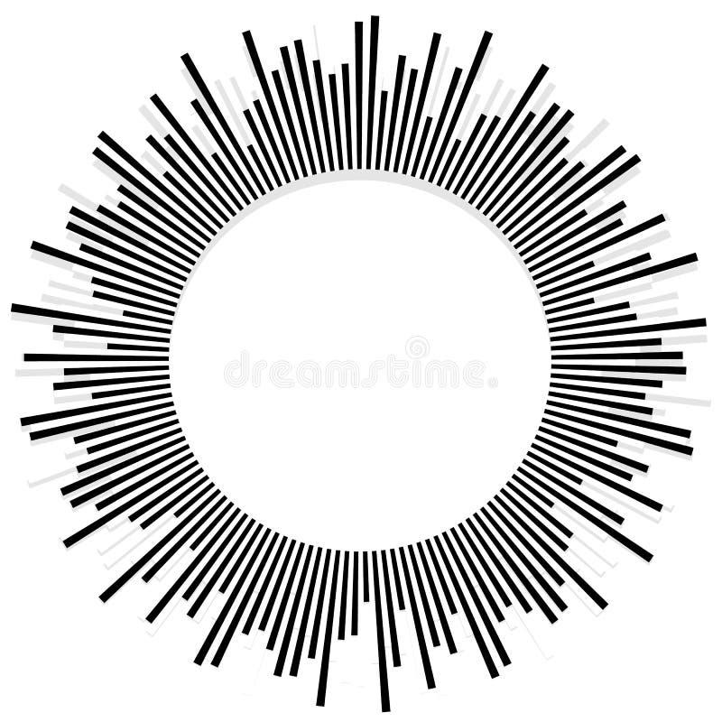 Illustration avec des rayons, faisceaux, radial - le rayonnement raye Abstrac illustration stock