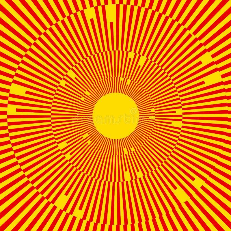 Illustration avec des rayons, faisceaux, radial - le rayonnement raye Résumé illustration stock