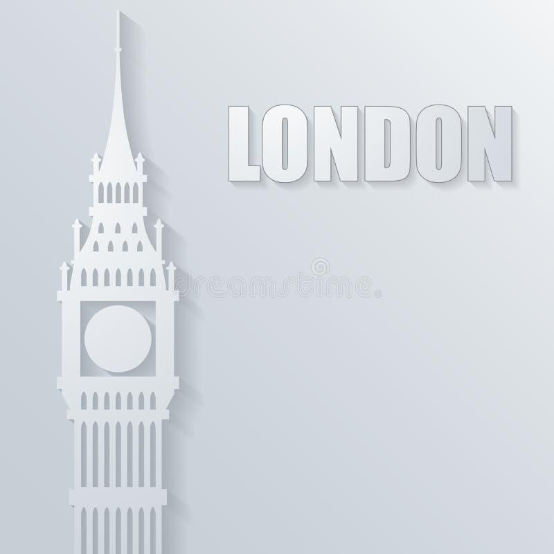 Illustration avec l'icône de grand Ben illustration stock