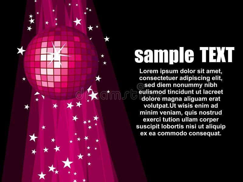 Illustration avec la bille rose de disco illustration stock