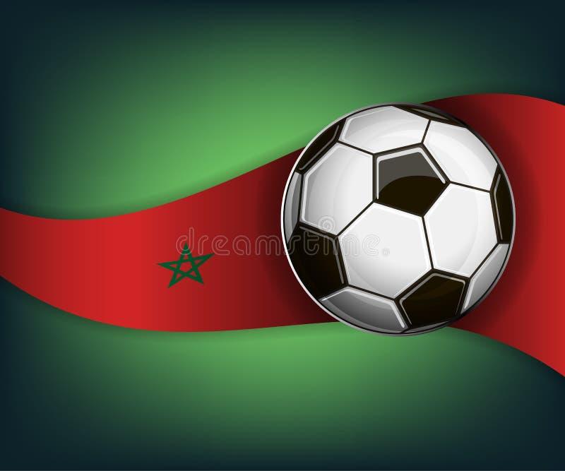 Illustration avec la boule du football ou de soccet et le drapeau de Marocco illustration libre de droits