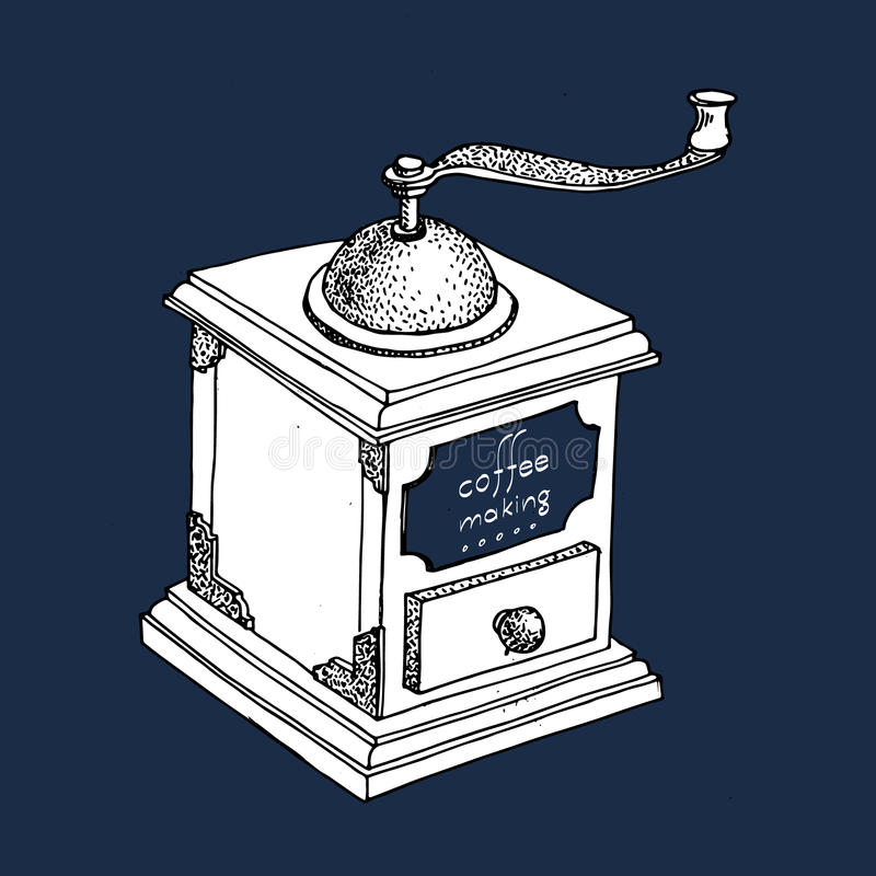 Illustration avec la broyeur de café de vintage, moulin illustration libre de droits
