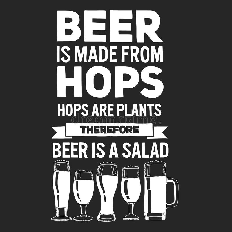 Illustration avec la citation au sujet de la bière illustration stock