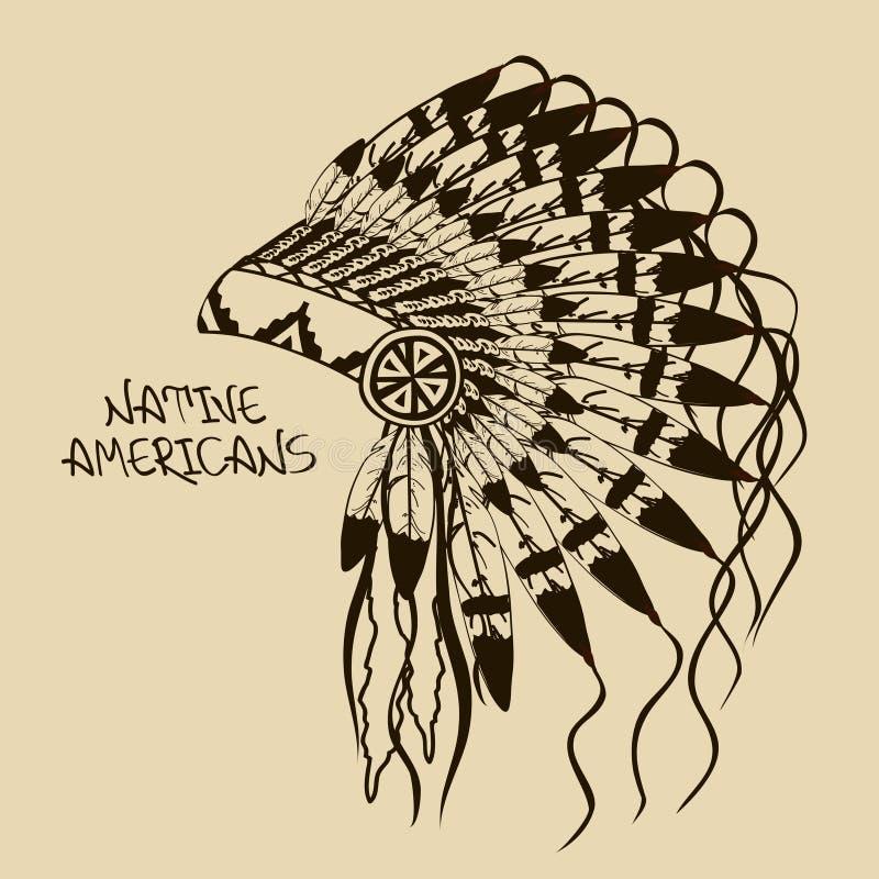 Illustration avec la coiffe en chef indienne indigène illustration libre de droits