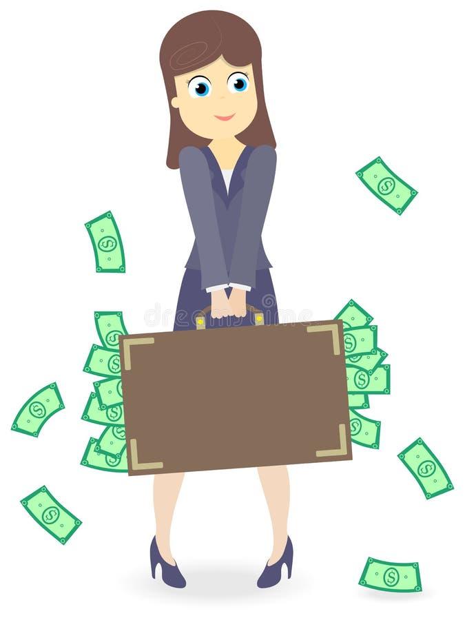 Illustration avec la dame d'affaires avec une valise lourde pleine de l'argent d'isolement sur le fond blanc, concept de la prosp illustration libre de droits