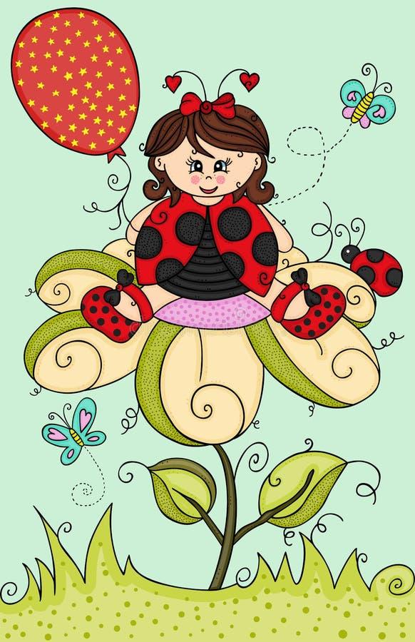Illustration avec la fille de coccinelle s'asseyant sur la fleur illustration stock