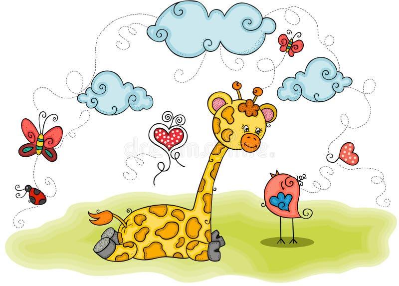 Illustration avec la girafe et l'oiseau illustration libre de droits