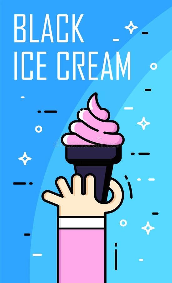 Illustration avec la main, la crème glacée noir et le texte sur le fond bleu Ligne mince carte plate de conception Drapeau de vec illustration stock