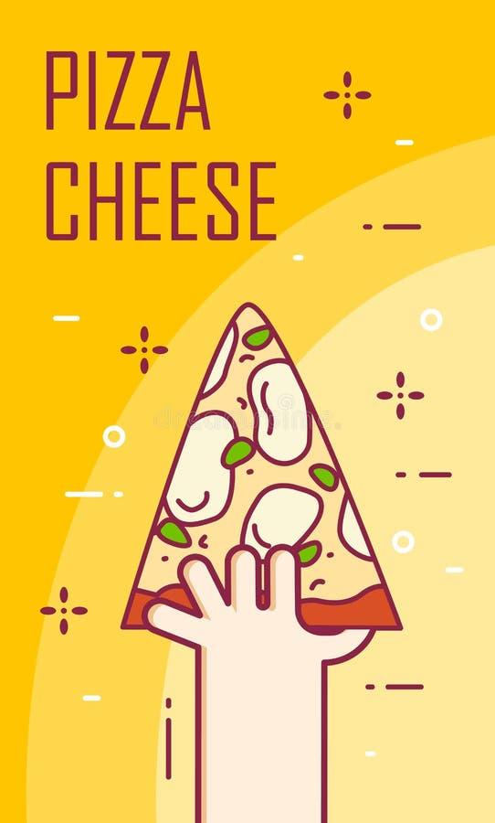 Illustration avec la main et la tranche de fromage de pizza Bannière de vecteur pour les aliments de préparation rapide Ligne min illustration libre de droits