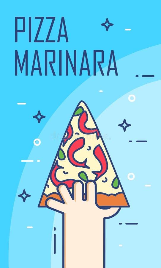 Illustration avec la main et la tranche de marinara de pizza Bannière de vecteur pour les aliments de préparation rapide Ligne mi illustration stock