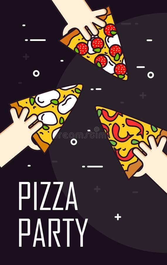 Illustration avec la main et la tranche de pepperoni de pizza Bannière de vecteur pour les aliments de préparation rapide Ligne m illustration de vecteur