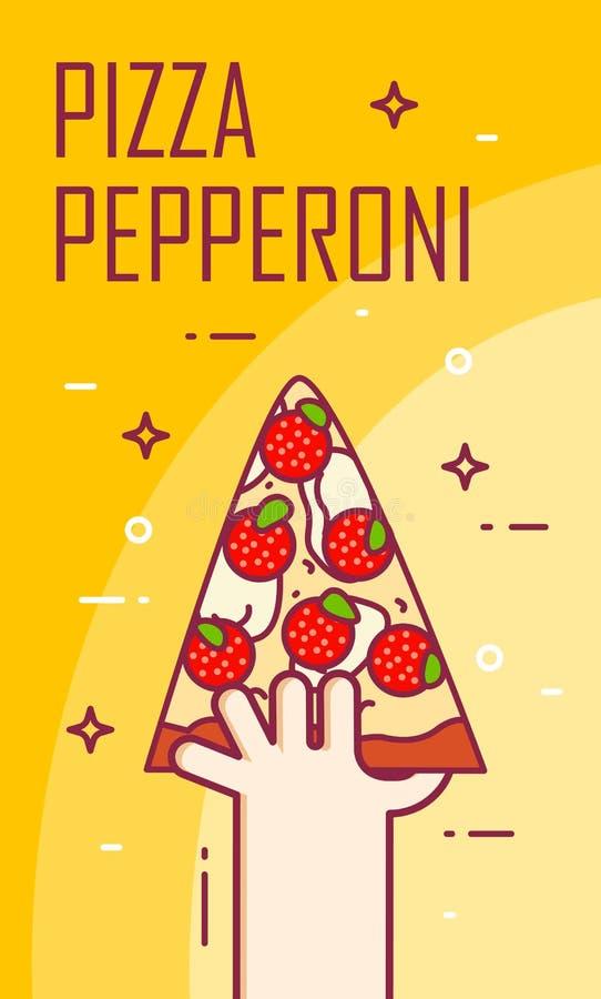Illustration avec la main et la tranche de pepperoni de pizza Bannière de vecteur pour les aliments de préparation rapide Ligne m illustration libre de droits