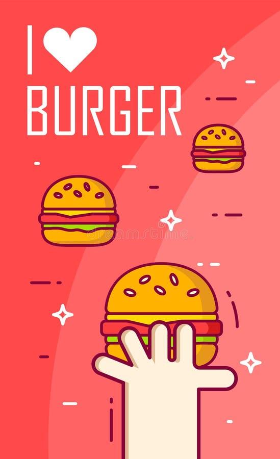 Illustration avec la main, le coeur et les hamburgers sur le fond rouge Ligne mince carte plate de conception Drapeau de vecteur illustration stock