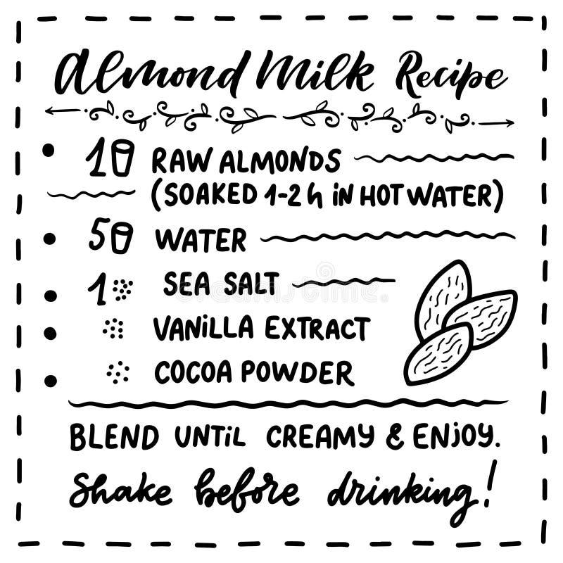 Illustration avec la recette faite maison de lait d'amande Calibre de conception d'aliment biologique Nutrition v?g?tarienne Vect illustration libre de droits