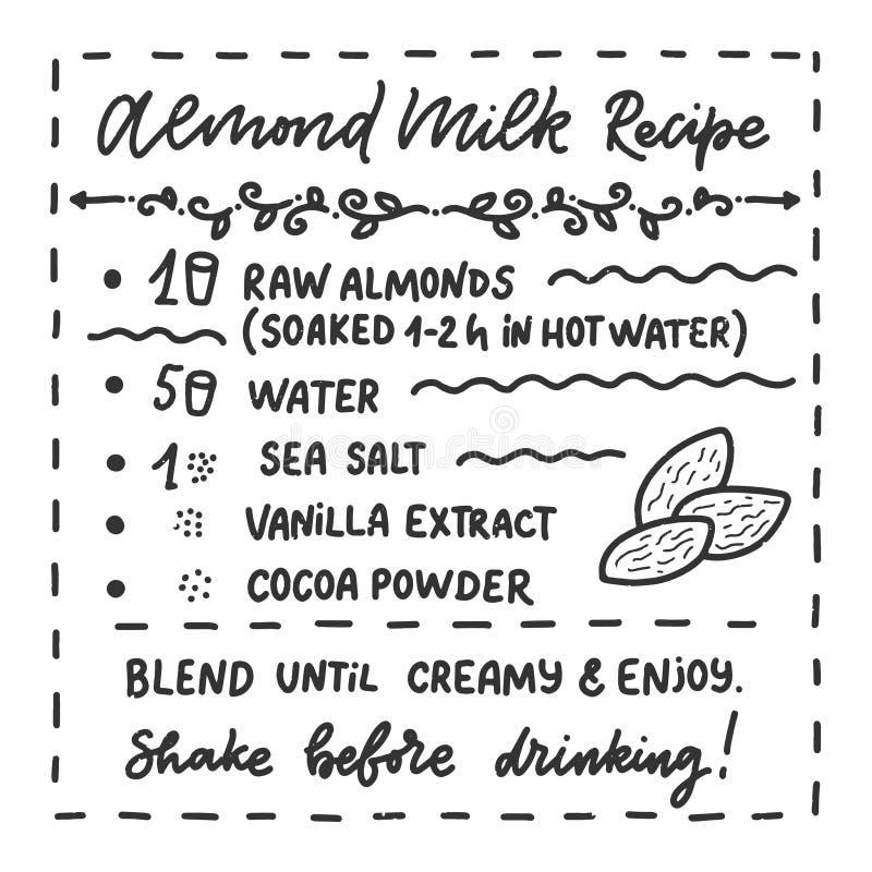 Illustration avec la recette faite maison de lait d'amande Calibre de conception d'aliment biologique Nutrition v?g?tarienne Vect illustration de vecteur