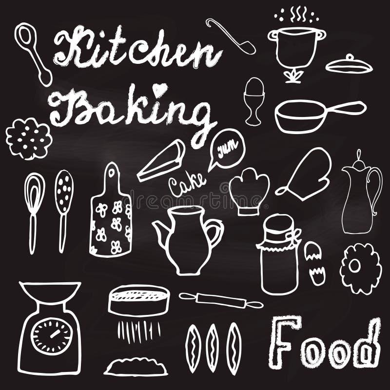 Illustration avec la vaisselle de cuisine et les nourritures tirées par la main sur le tableau illustration stock