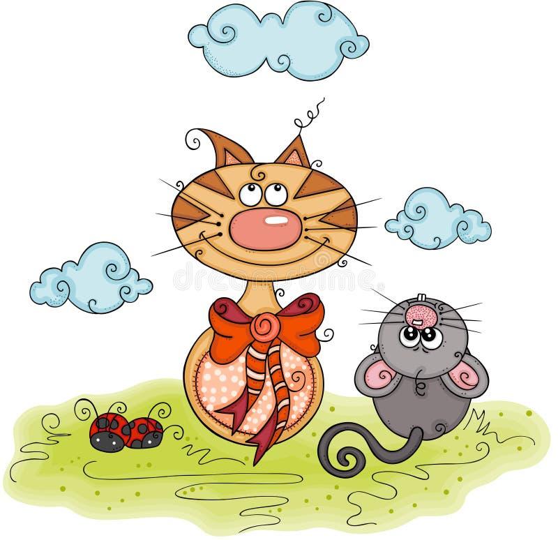 Illustration avec le chat et la souris illustration de vecteur